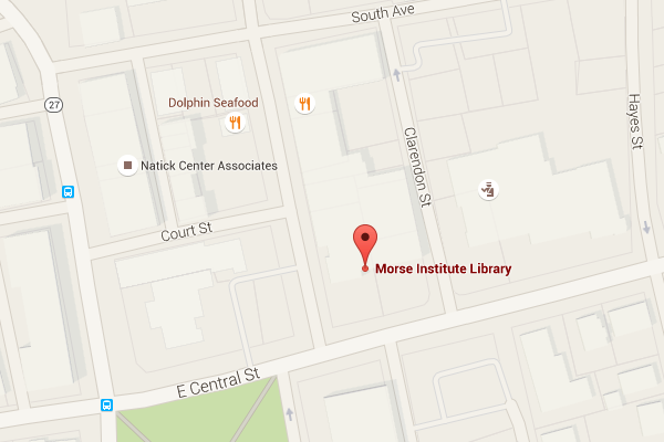 Map of Morse Institute Library 14 East Central St Natick MA 01760